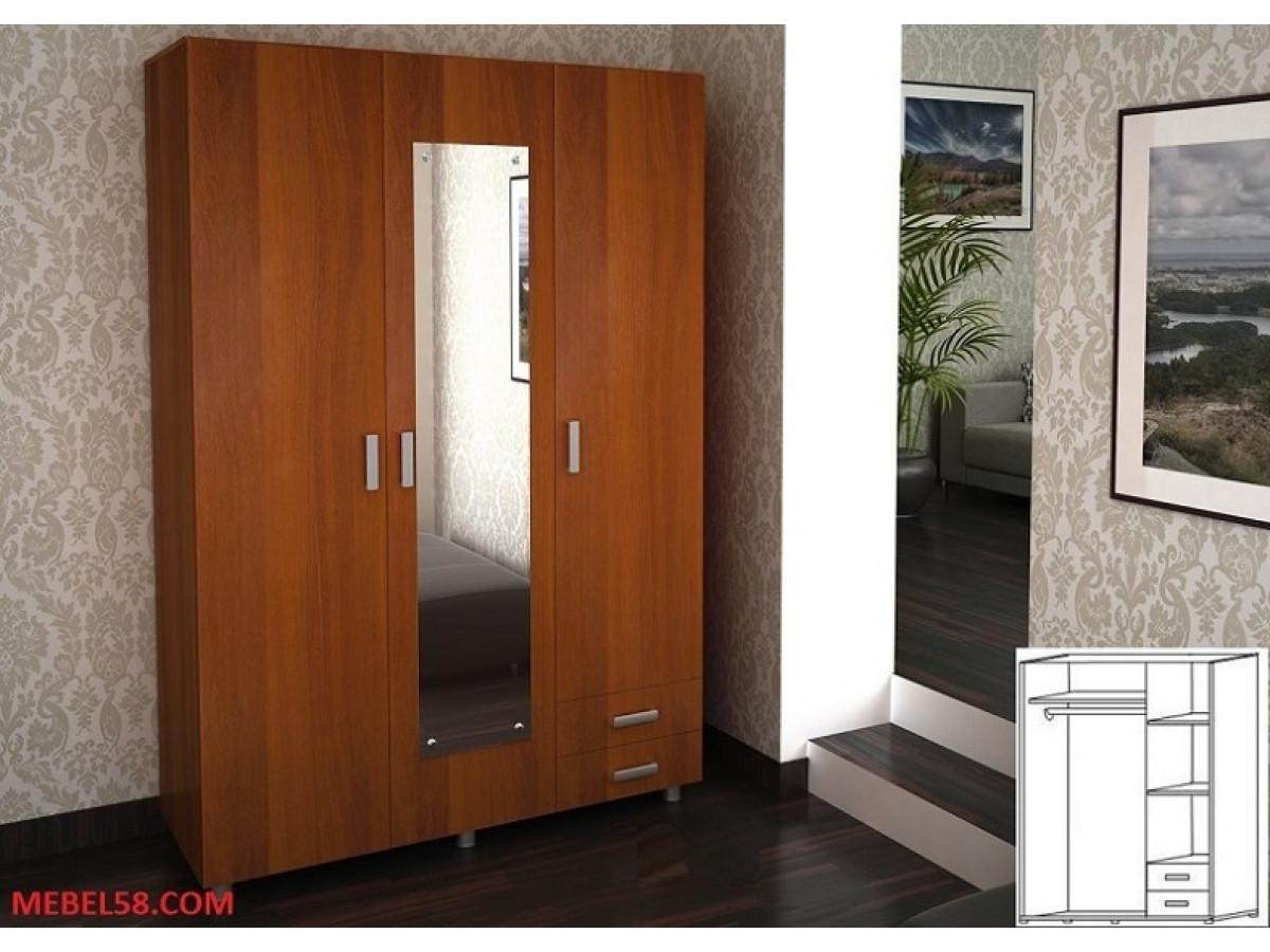 Шкаф трехстворчатый шк-205 с зеркалом - уник-мебель.