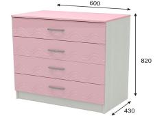 Комод Юниор 2 розовый