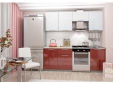 Кухня София  гранат/белая 2.1 метра