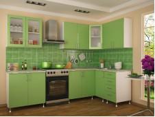 Кухня Техно МДФ  угловая  салатовая