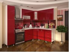Кухня Техно угловая красная