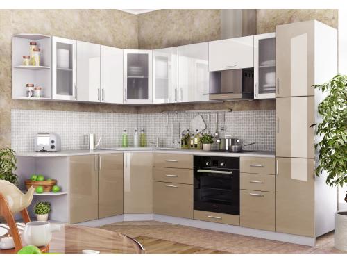 Кухня Олива белый/кофе с молоком