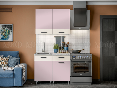 Кухня Рио розовая 1.0 м