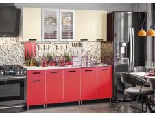 Кухня Рио-1 красный/бежевый