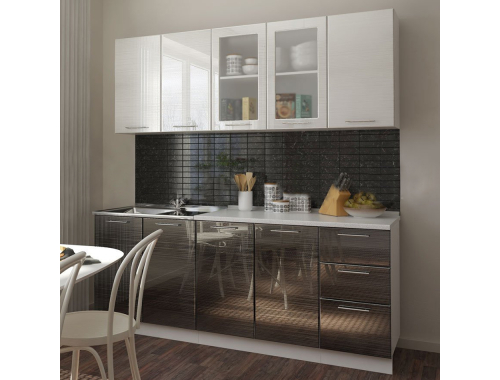 Кухня Микс серый/черный титан