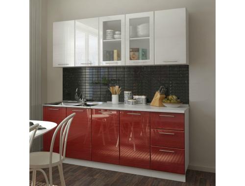 Кухня Микс серый/красный титан