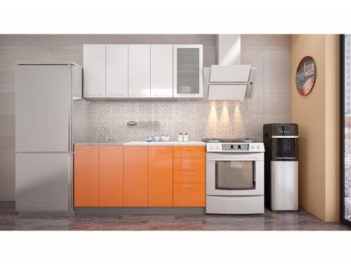 Кухня София белая / оранж 1.6 метра