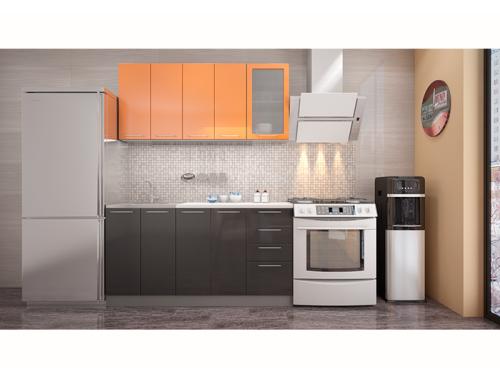 Кухня София оранж / черная 1.6 метра