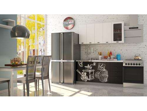 Кухня София белая шагрень  Кофе тайм черный