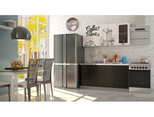 Кухня София Кофе тайм белый черная шагрень