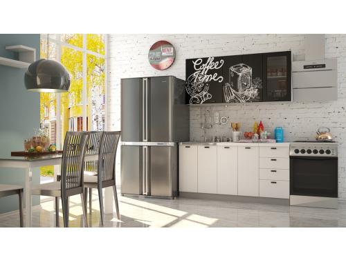 Кухня София Кофе тайм черный белая шагрень