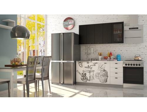 Кухня София черная шагрень  Кофе тайм белый
