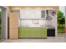 Кухня София белая/зеленая 2.0 метра
