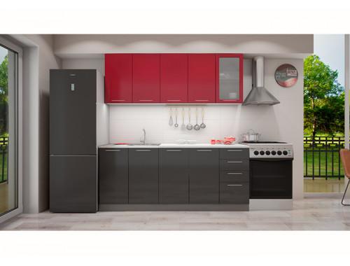 Кухня София красная/черная 2.0 метра