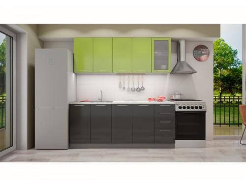 Кухня София зеленая/черная 2.0 метра