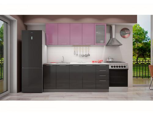 Кухня София сирень/черная 2.0 метра