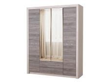 Шкаф 4С2Я с зеркалом Октава дуб серый