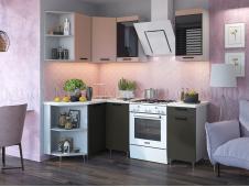Кухня Техно new 1,3 x 1,4 м пудра софт/уголь софт