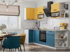 Кухня Техно new 0,9 x 2,7 м горчица софт/атлантик софт