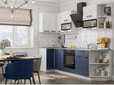 Кухня Техно new 0,9 x 2,7 м белый софт/ультрамарин софт