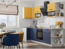Кухня Техно new 0,9 x 2,7 м горчица софт/ультрамарин софт