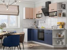 Кухня Техно new 0,9 x 2,7 м пудра софт/ультрамарин софт