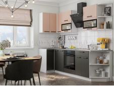Кухня Техно new 0,9 x 2,7 м пудра софт/уголь софт