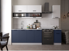 Кухня Техно new 2.0 м белый софт/ультрамарин софт