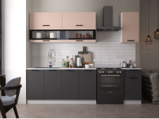 Кухня Техно new 2.0 м пудра софт/уголь софт