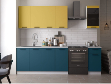 Кухня Техно-3 new 2.0 м горчица софт/атлантик софт