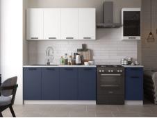 Кухня Техно-3 new 2.0 м белый софт/ультрамарин софт