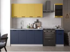 Кухня Техно-3 new 2.0 м горчица софт/ультрамарин софт