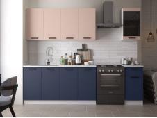 Кухня Техно-3 new 2.0 м пудра софт/ультрамарин софт