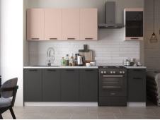 Кухня Техно-3 new 2.0 м пудра софт/уголь софт