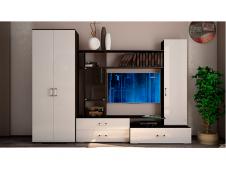Гостиная  Ника-2 с шкафом белый глянец
