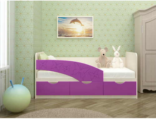 Кровать Бабочки сиреневые