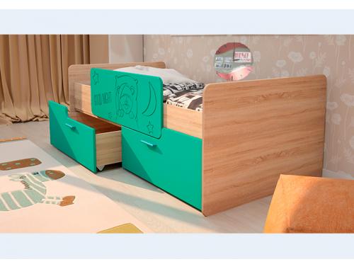 Кровать Умка бирюза с ограничителем