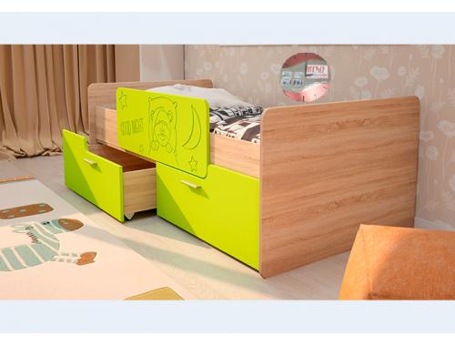 Кровать Умка лайм с ограничителем