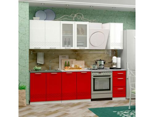 Кухня Волна красный металлик