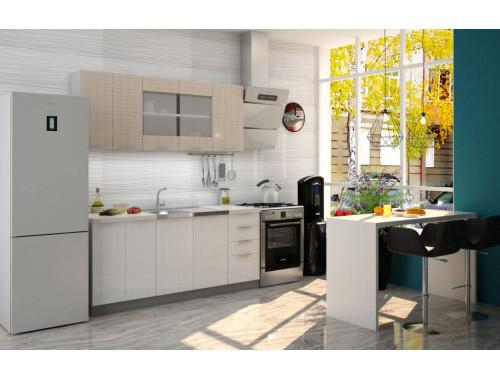 Кухня София Квадрика ваниль/белая 1.8 метра