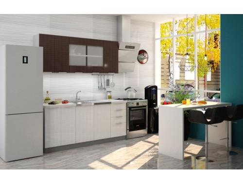 Кухня София Квадрика шоколад/белый 1.8 метра