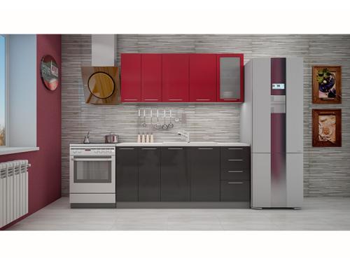 Кухня София красная/черная 1.8 метра