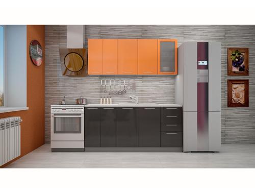 Кухня София оранж/черная 1.8 метра