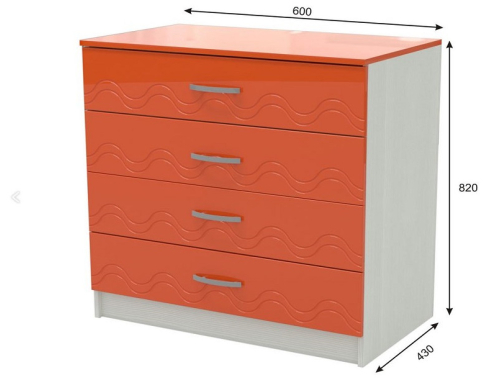 Комод Юниор 2  оранжевый