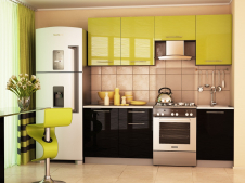 Кухня София Дюна зеленая/черная 2.1 метра