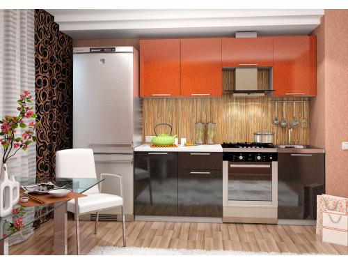Кухня София оранж/черная 2.1 метра